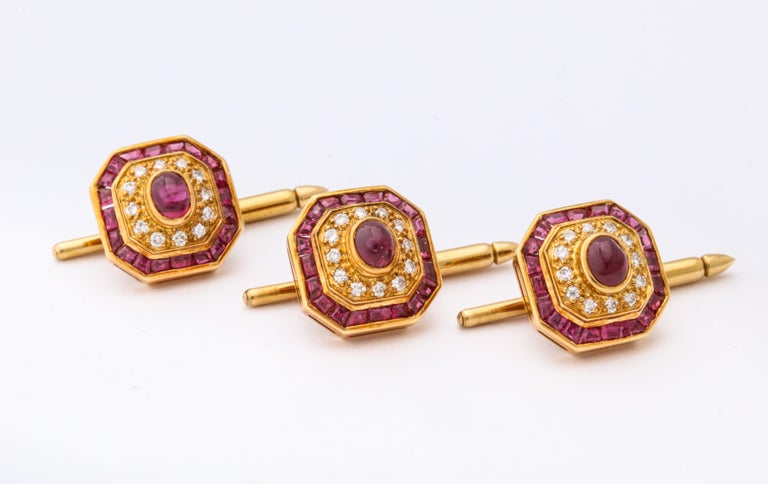 Ruby and Diamond Cuff-Links For Sale 2