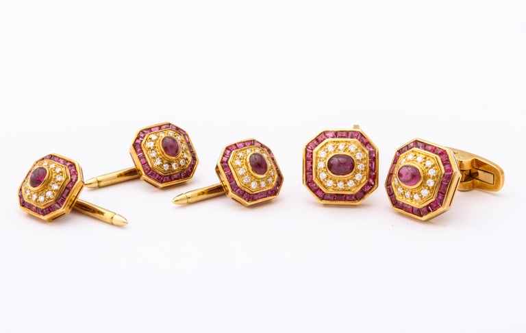Ruby and Diamond Cuff-Links For Sale 6