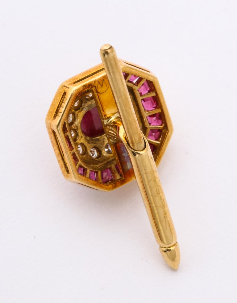 Ruby and Diamond Cuff-Links For Sale 9