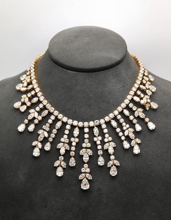 """A very rare and important diamond 'Tania"""" necklace made by Van Cleef and Arpels. Made in 1974  Round, pear shape and marquise cut diamond weight approx 105-115 cts  Signed, stamped and numbered  With Certificate of authenticity issued by VCA"""