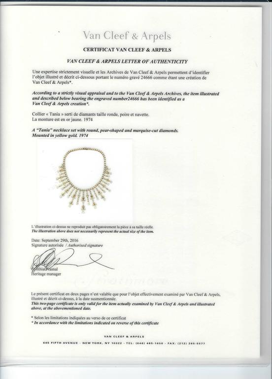 Important Van Cleef & Arpels Diamond Tania Necklace In Good Condition For Sale In New York, NY