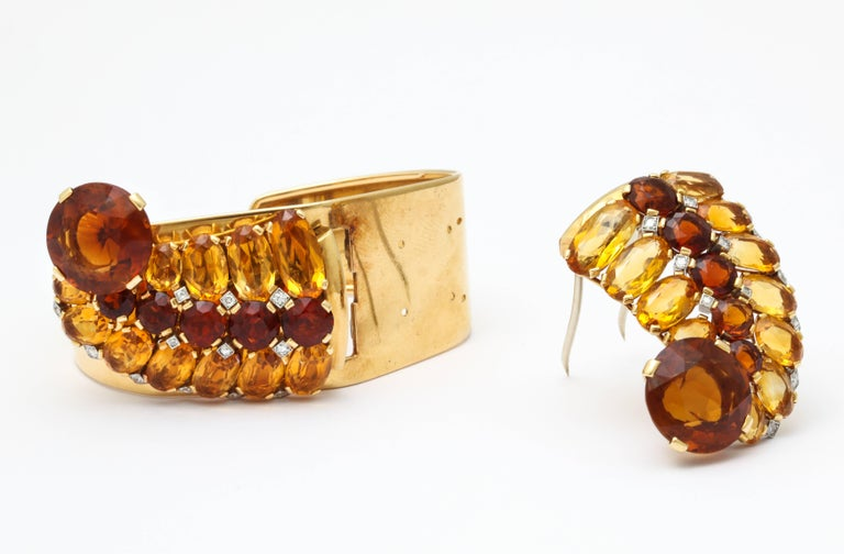 1930s Cartier Paris Citrine Clip Bangle Combination Set In Good Condition For Sale In New York, NY