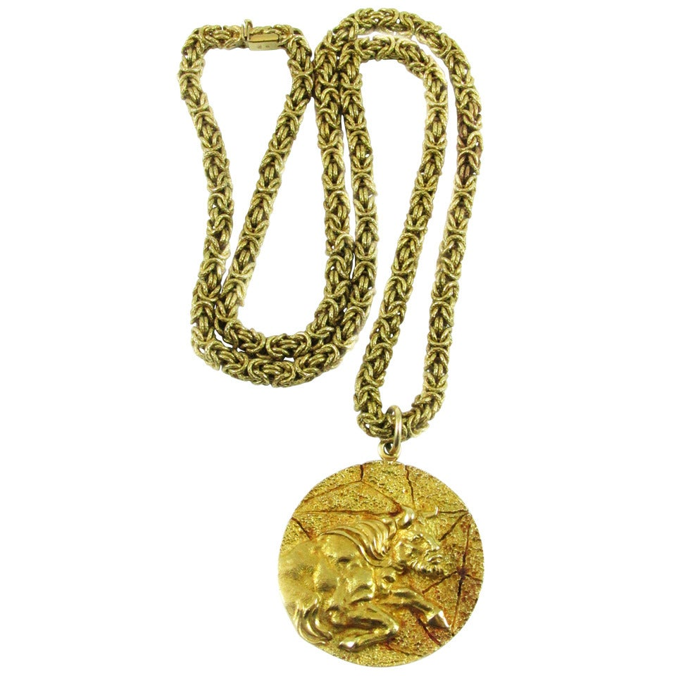 ddce5c2af49577 Tiffany and Co. Gold Taurus Zodiac Pendant Necklace at 1stdibs