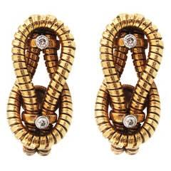 Unique Cartier Paris Retro Yellow Gold Diamond Sailors' Knot Earclips