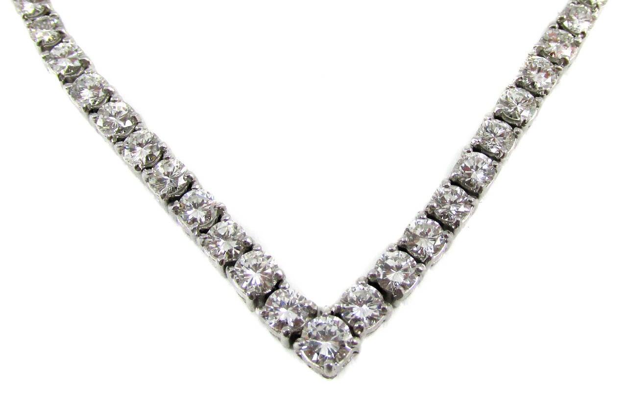 Elegant V Shaped Diamond Platinum Line Necklace For Sale