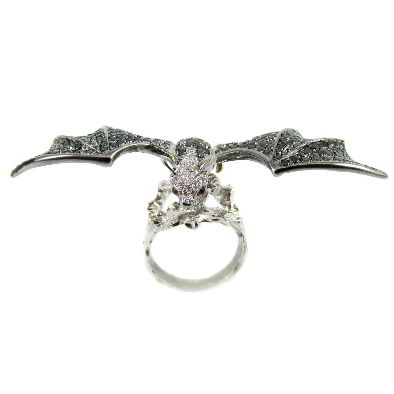 unique black and white bat ring at 1stdibs