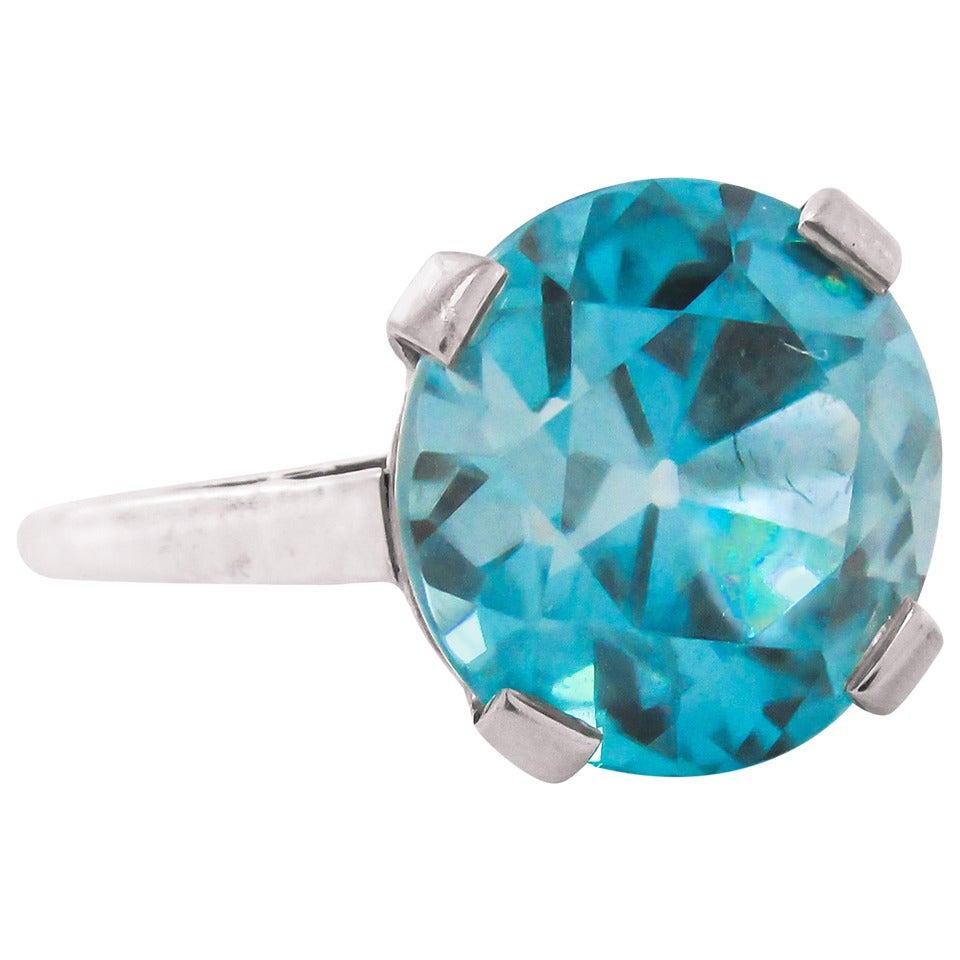 Retro 8 Carat Intense Blue Zircon Platinum Ring For Sale