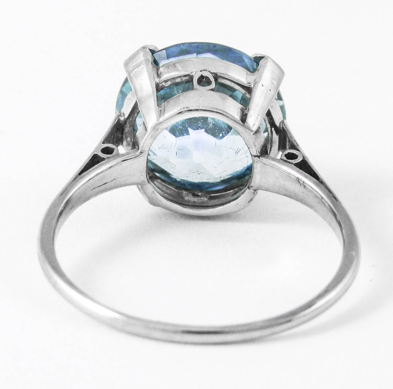 Women's or Men's Retro 8 Carat Intense Blue Zircon Platinum Ring For Sale