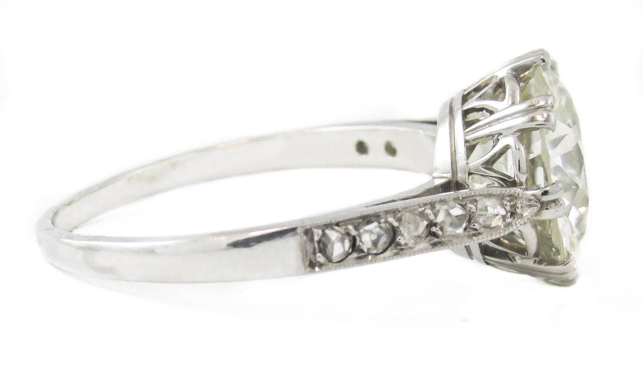 Art Deco 506 Carat Old European Cut Round Diamond Engagement Ring For Sale At 1stdibs