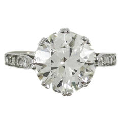 Art Deco 5.06 Carat Old European Cut Round Diamond Engagement Ring