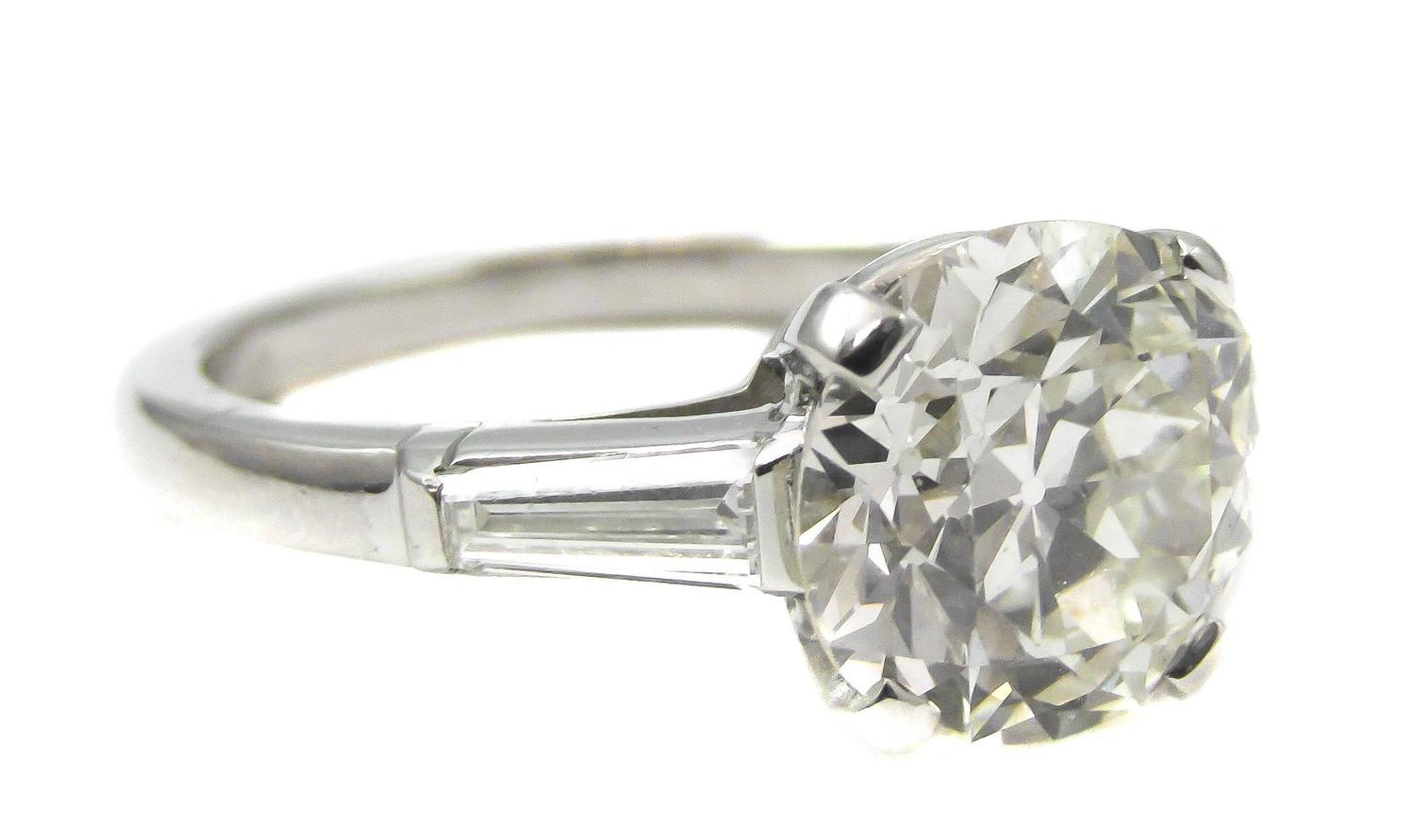 Tiffany and Co 2 88 Carat Diamond Platinum Ring For Sale at 1stdibs