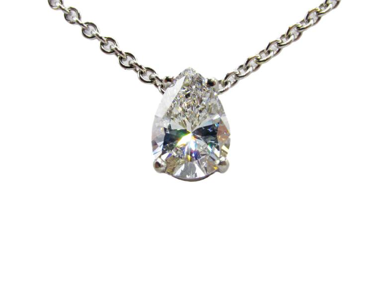 Pear Shape Diamond Gold Pendant Necklace For Sale