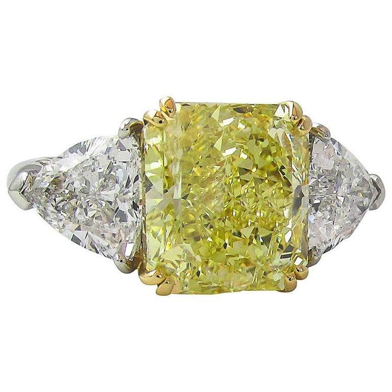 Natural Fancy Yellow Radiant Cut 6.15 Carat Diamond Engagement Ring
