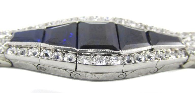 Women's or Men's Art Deco Sapphire Diamond Platinum Bracelet For Sale