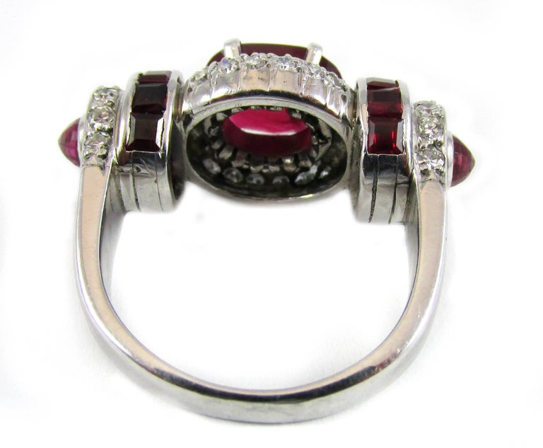 Women's or Men's Rare Art Moderne 2.09 Carat Burma No Heat Natural Ruby Platinum Diamond Ring For Sale