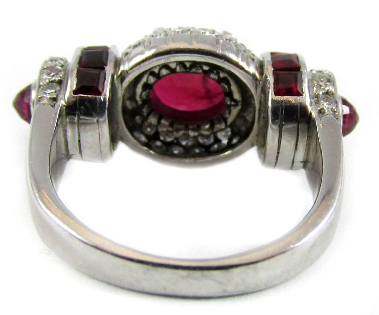 Rare Art Moderne 2.09 Carat Burma No Heat Natural Ruby Platinum Diamond Ring For Sale 1