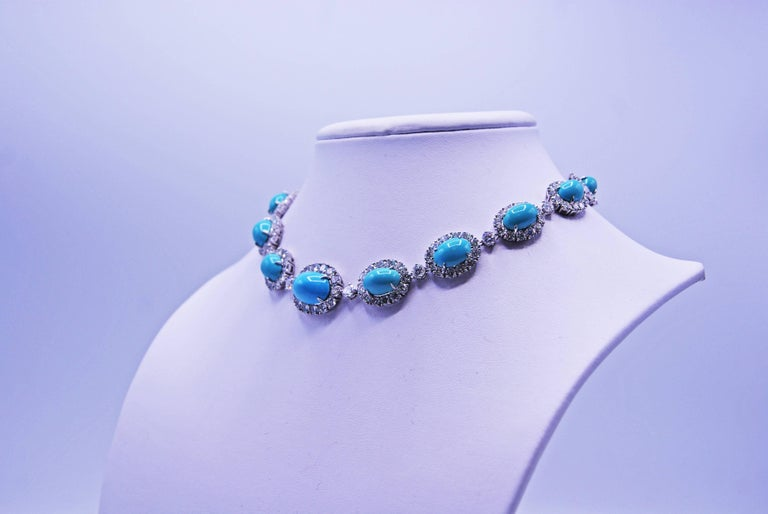 Women's or Men's Van Cleef & Arpels Turquoise Diamond Platinum Choker Necklace For Sale