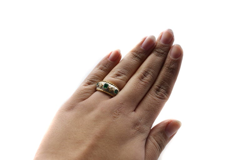 Contemporary Emerald Diamond Platinum Gold Band Ring For Sale