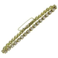 Old European Cut Diamond 18 Karat Gold Straight Row Bracelet