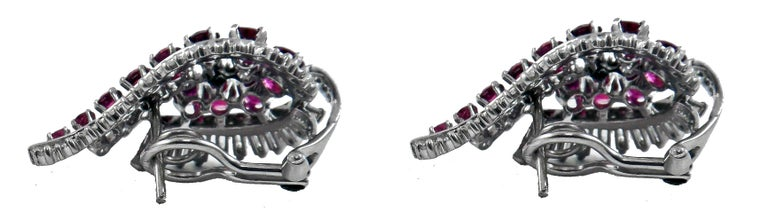 Gübelin Ruby Diamond Platinum Earrings In Excellent Condition For Sale In New York, NY