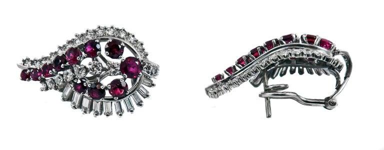 Women's or Men's Gübelin Ruby Diamond Platinum Earrings For Sale