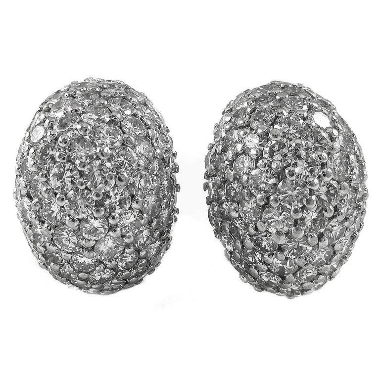 1960s Fine Diamond Platinum Bombe Ear Clips For Sale