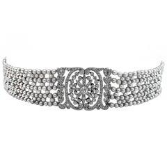 French Belle Époque Natural Pearl Diamond Platinum Collier de Chien Choker