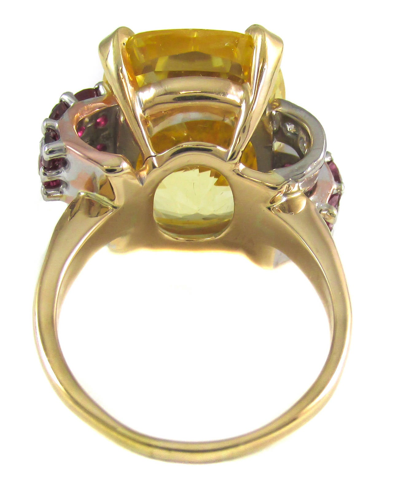 Retro Natural No Heat Yellow Sapphire Ruby Diamond Gold Ring For Sale