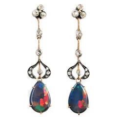 Edwardian Black Opal Diamond Gold Platinum Harlequin Earrings