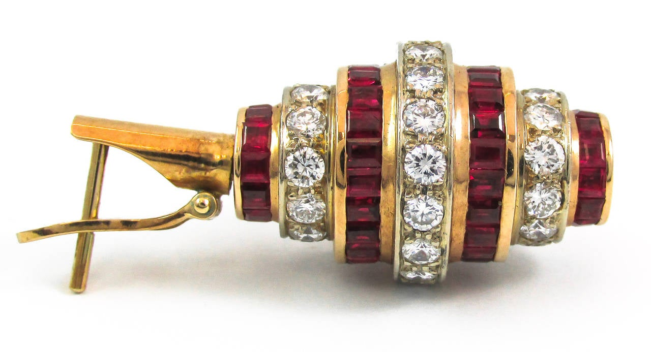 Ruby Diamond Gold Earring And Necklace Suite For Sale At