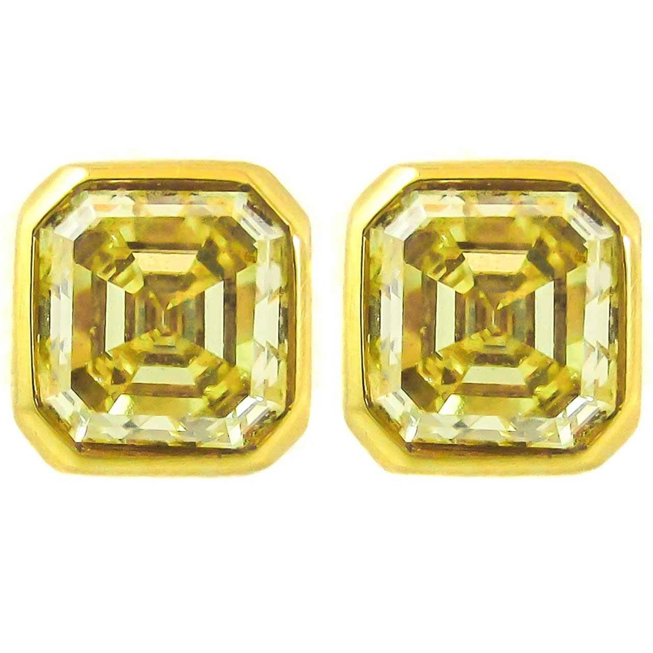 Gia Certified Natural Fancy Intense Yellow Emerald Cut Diamond Stud Earrings For