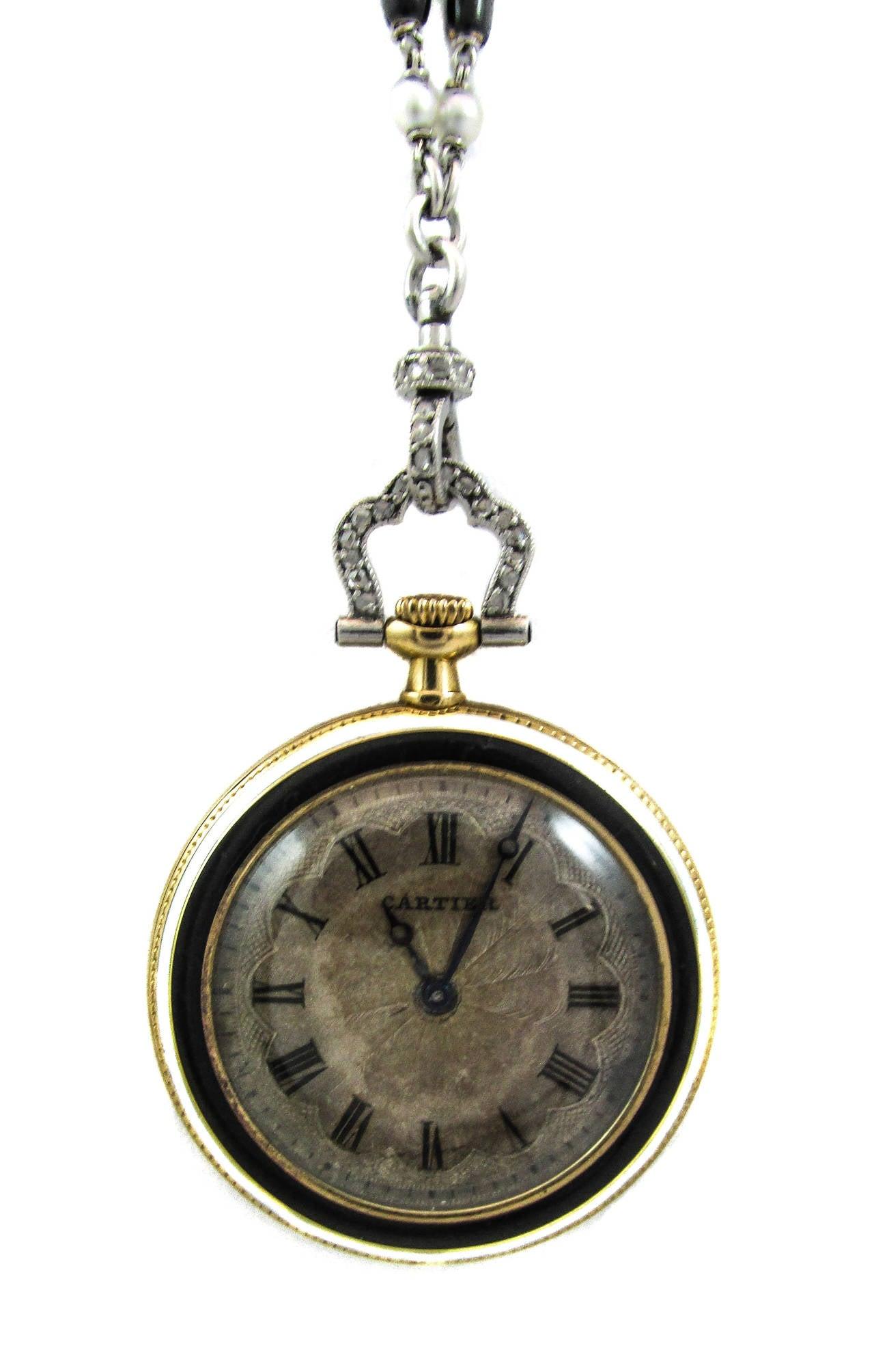 Cartier Platinum Yellow Gold Diamond Black Enamel Pendant Watch Necklace 5
