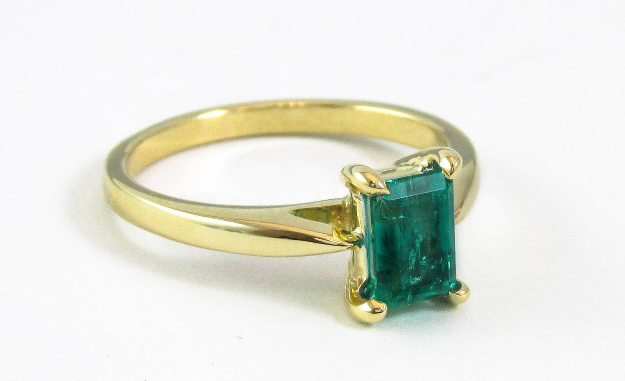 emerald gold solitaire ring at 1stdibs