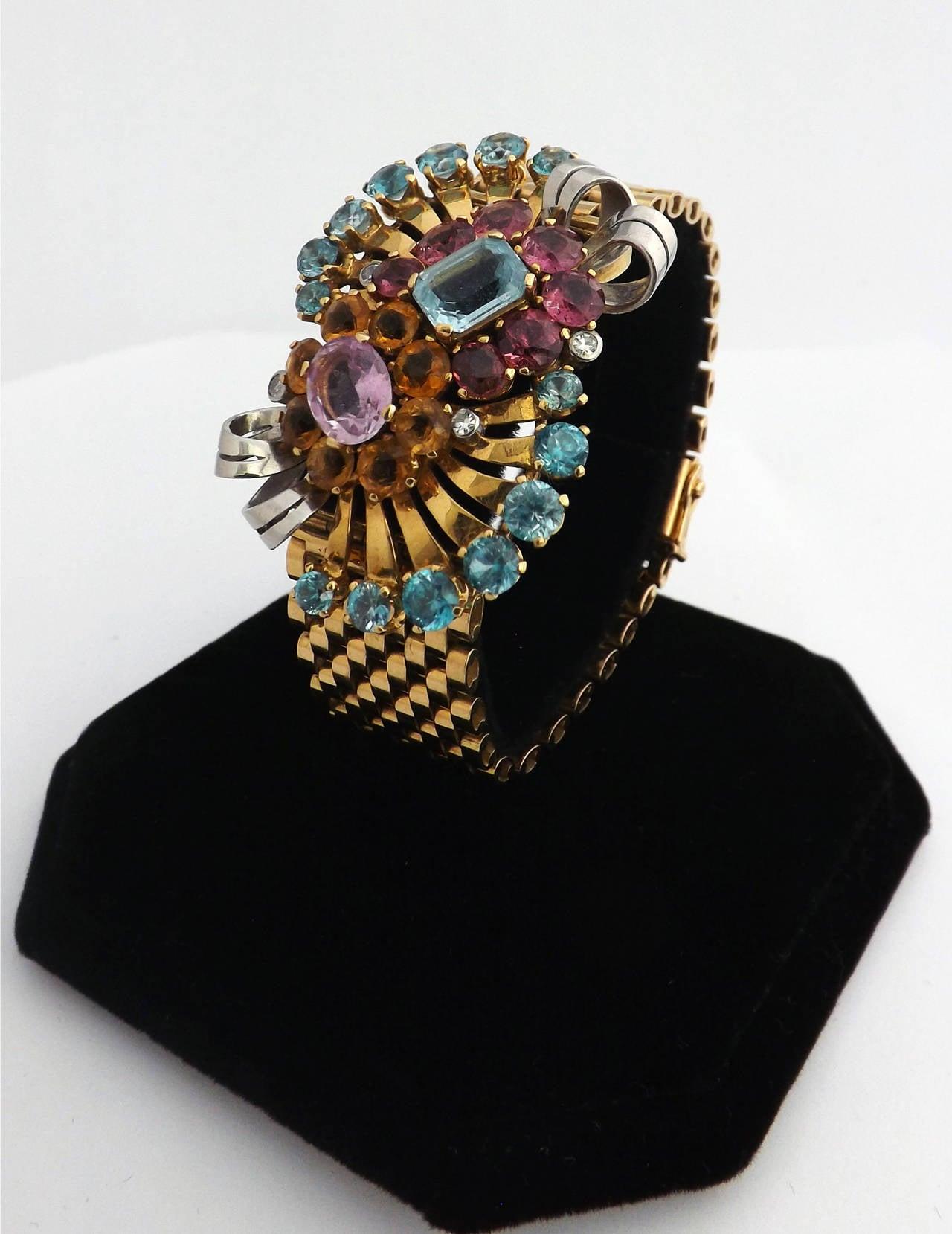 Retro Multi Gem Set Gold Bracelet For Sale 2