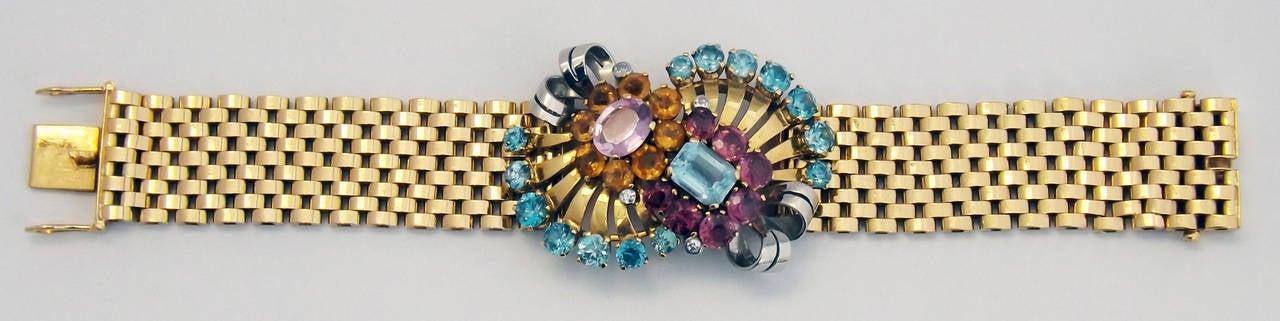 Women's Retro Multi Gem Set Gold Bracelet For Sale