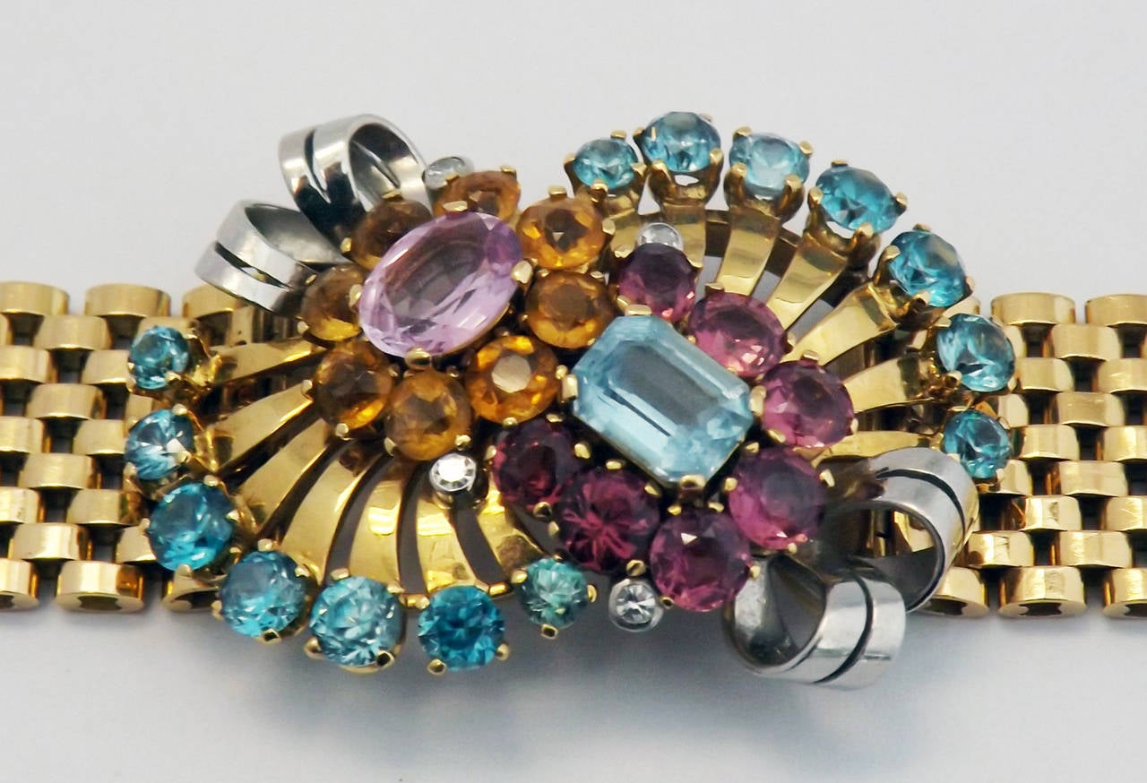 Retro Multi Gem Set Gold Bracelet In Excellent Condition For Sale In New York, NY
