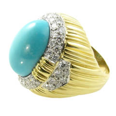 A Cabochon Turquoise Diamond Gold Dome Shaped Ring