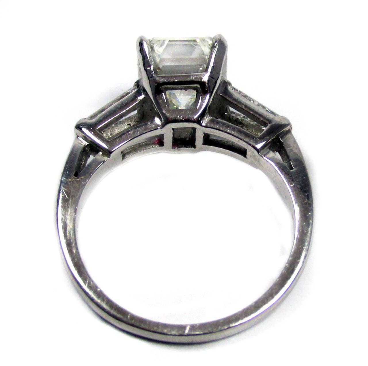 2 50 Carat Emerald Cut Diamond Platinum Ring at 1stdibs