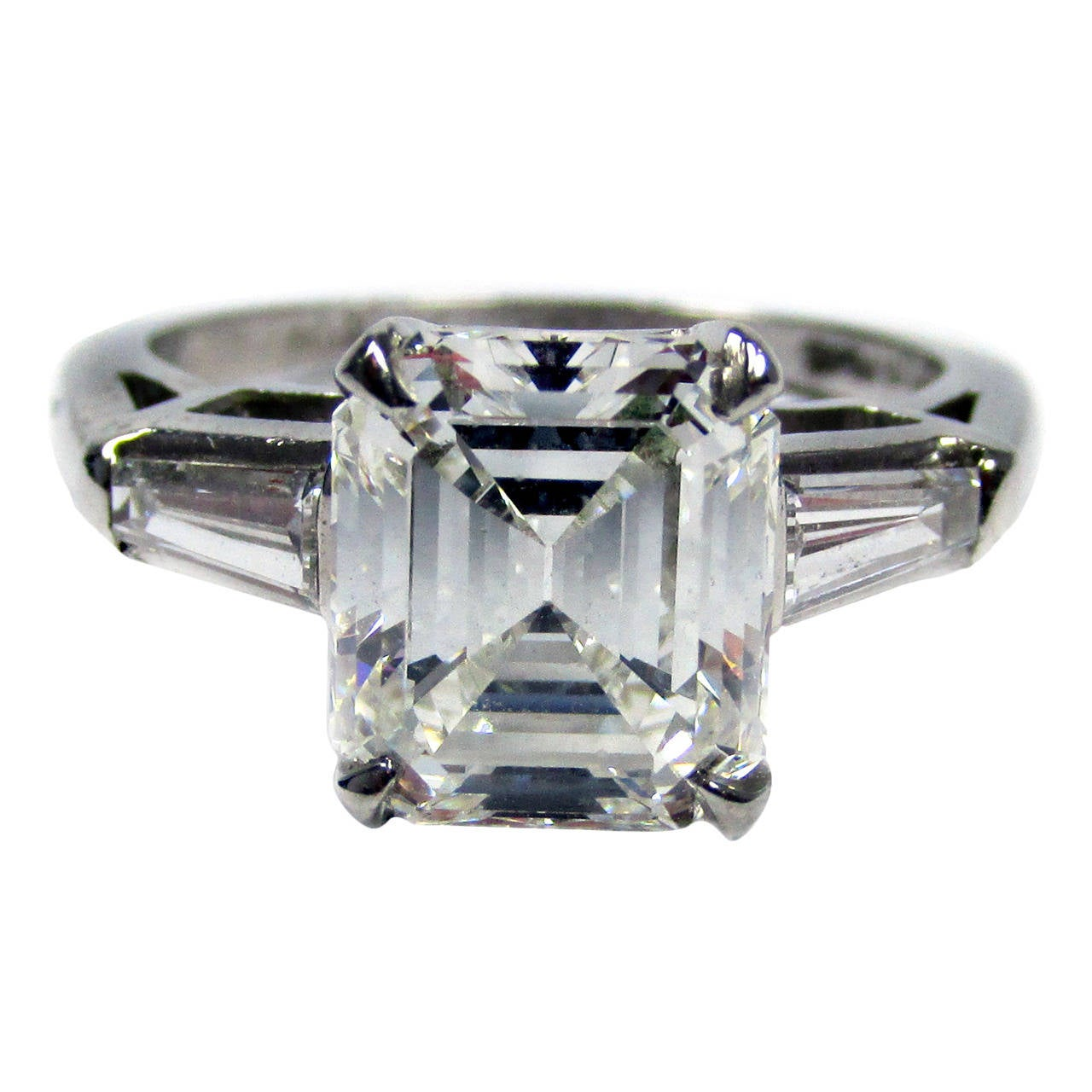 2 50 Carat Emerald Cut Diamond Platinum Ring at 1stdibs
