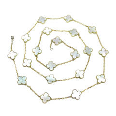 Van Cleef & Arpels Mother of Pearl Yellow Gold Alhambra necklace
