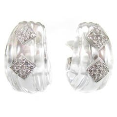 David Webb Rock Crystal Diamond Platinum Ear Clips