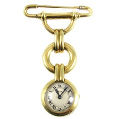Cartier Ladies Yellow Gold Art Deco Pendant Watch Brooch