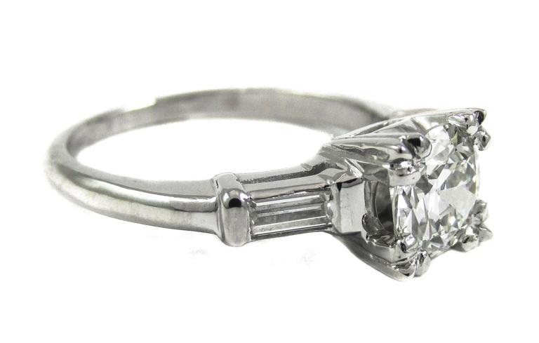 0.91 Carat Old European Cut Diamond Platinum Engagement Ring 2