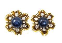 1940s Lacloche Star Sapphire Diamond Gold Earrings
