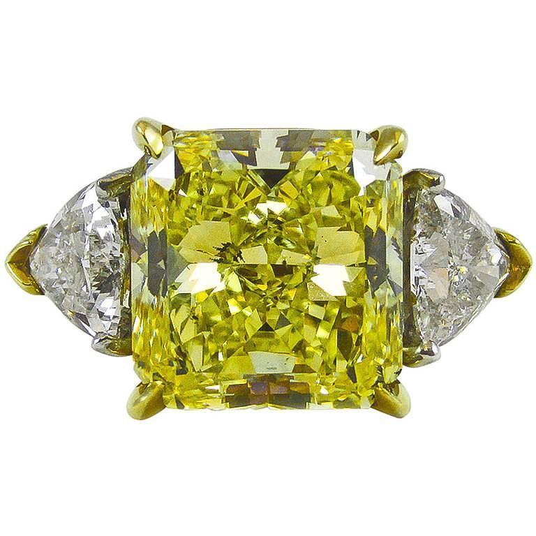 6.61 Carat Natural Fancy Intense Yellow Radiant Cut Diamond Gold Platinum Ring