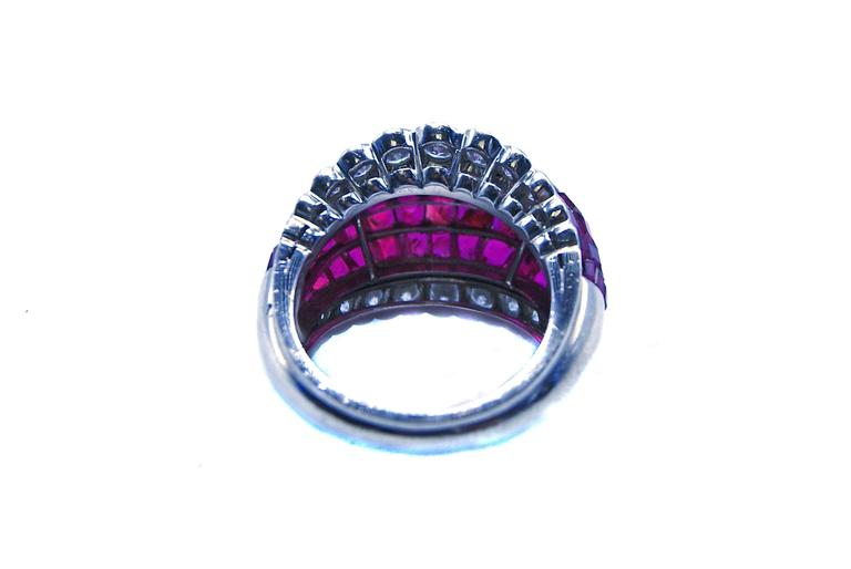 Rare Van Cleef & Arpels Ruby and Diamond Platinum Mystery Set Ring 2