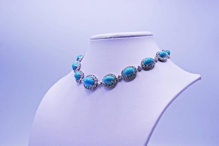 Van Cleef & Arpels Turquoise Diamond Platinum Choker Necklace In Excellent Condition For Sale In New York, NY