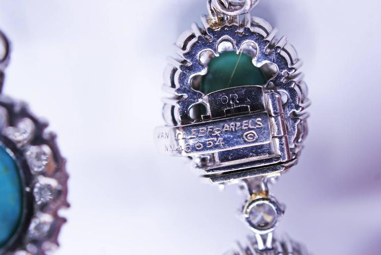 Women's Van Cleef & Arpels Turquoise Diamond Platinum Choker Necklace For Sale