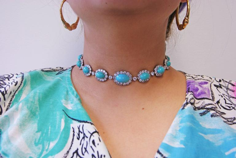 Van Cleef & Arpels Turquoise Diamond Platinum Choker Necklace For Sale 1