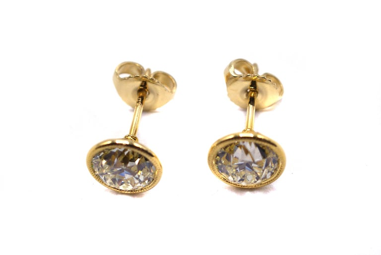 Contemporary Old European Cut Diamond Gold Stud Earrings For Sale